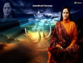 Anandmurti Gurumaa  photo wallpaper , blue , green and orange   color