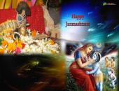 Janmashtami Wallpaper, Brown, Blue and Orange Color