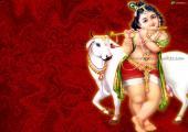Lord Krishna wallpaper, brown color