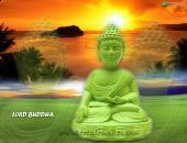 lord buddha image, orange, green and yellow color