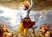 lord krishna lifted goverdhan mountain, orange color
