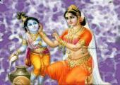 Lord Krishna with Yashoda, purple and white color